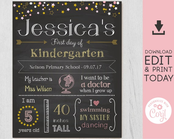 Back to School Sign, First/Last Day of School Sign Editable, First day of school chalkboard, Chalkboard Sign, INSTANT DOWNLOAD, Star, Corjl