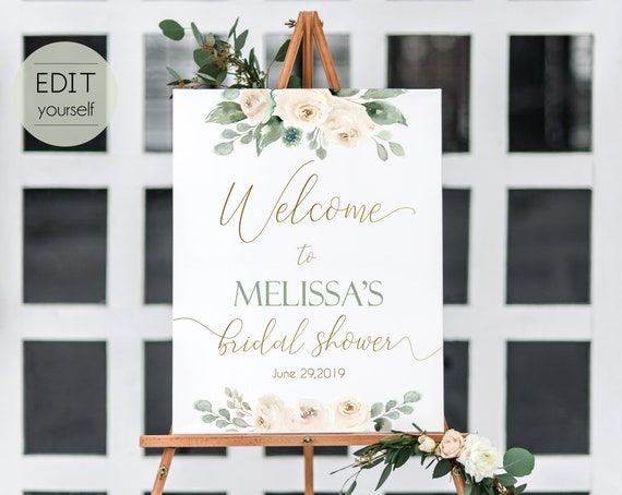 Welcome Sign Bridal Shower, Template Bridal Shower, Editable PDF, Welcome Bridal Shower, White Blush, Greenery, Floral Gold, Editable Sign