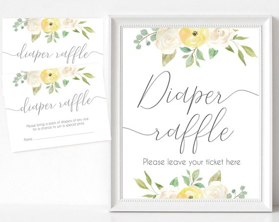 Diaper Raffle Sign, Diaper Raffle Card, Baby Shower Sign Printable, Romantic Yellow White Floral, Baby Shower, Instant Download