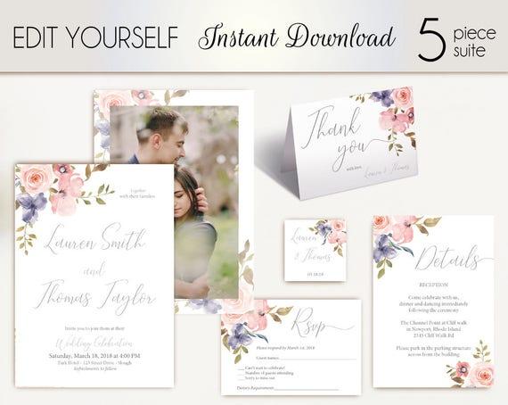 Wedding Invitation Template Wedding Invite Set Romantic Blush Pink Grey Niagara Flowers with photo picture Wedding Invite Instant Download