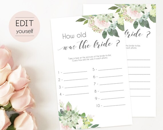 Bridal Shower Game, How old was the bride Editable PDF Bridal Shower, Succulent Bridal Shower Blush Pink, Watercolor Flowers, Editable Game