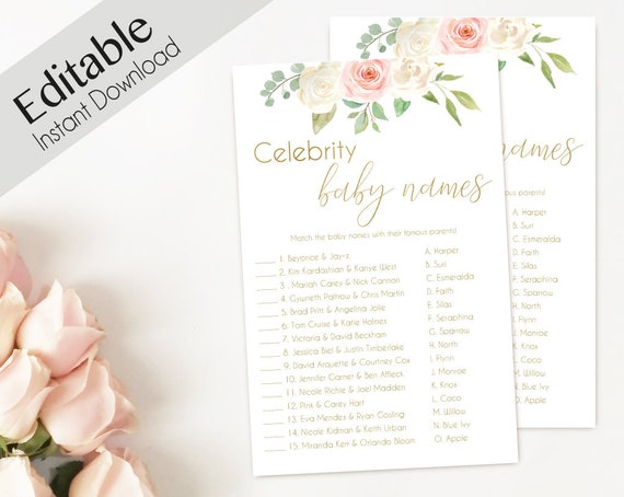 Baby Shower Game Celebrity baby name Game, Baby shower game Editable PDF Bridal Shower Romantic Blush Pink White Flowers Gold, Editable Game