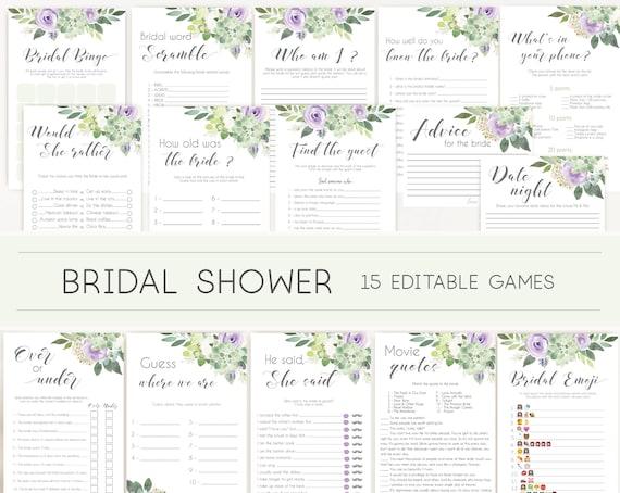 Bridal Shower Games, Bridal Shower Games Bundle, Editable Bridal Shower Games, Package Set Bundle, Succulent Lilac Greenery