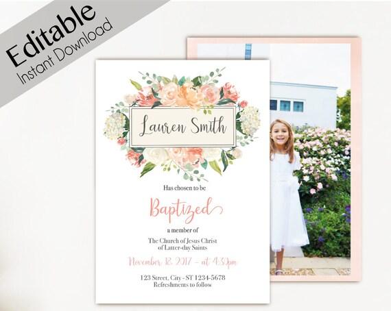 Baptism Invitation Girl, Editable PDF, Girl Invitation peach watercolor, Baptism Invite, invitation double side, back side, Baptism template