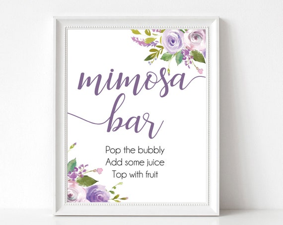 Mimosa Bar sign, Lilac Purple flowers, Bubbly Bar Sign, Wedding Bar Sign, Printable Sign, Wedding Sign, Engagement Party Mimosa