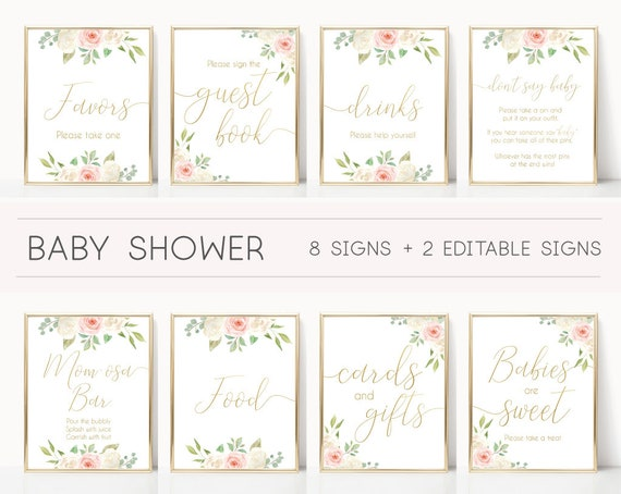Baby Shower Sign, Baby Shower Sign Bundle, pink and gold, Editable Sign, Baby shower Decor, Romantic Blush Pink Floral