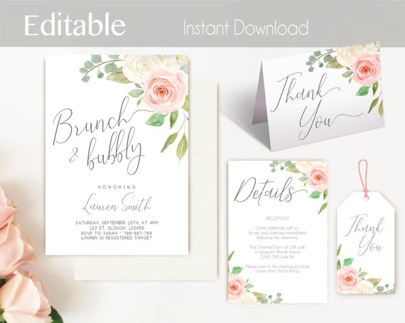 Brunch and Bubbly Invitation Set, Editable PDF Bridal Shower Printable Romantic Blush Pink White Floral Details card Thank you card Gift Tag