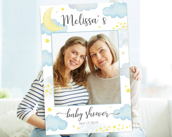 Over the Moon Baby Shower Photo Booth Frame, Photo Prop Frame, Photo Booth Prop, Instant Download, To the Moon and Back Baby Shower, Corjl