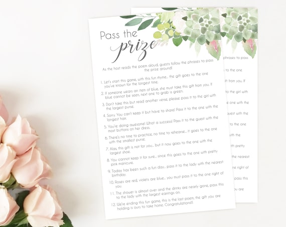 Pass the Prize Game, Baby Shower Game Printable, Fun Baby Shower, Instant Download, Pass the Parcel Gift, Greenery Succulent Dusty Rose