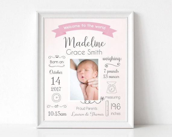 Birth Announcement, Editable BIRTH Stats printable wall art template, Print Sign poster wall art, Baby girl gift, instant download, Corjl