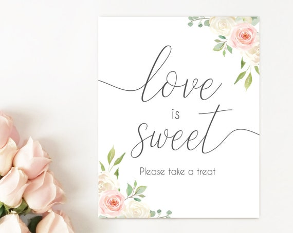 Love is Sweet Please take a treat, Blush White Pink, dessert sign, love is sweet sign, Bridal Shower Sweet sign, instant download