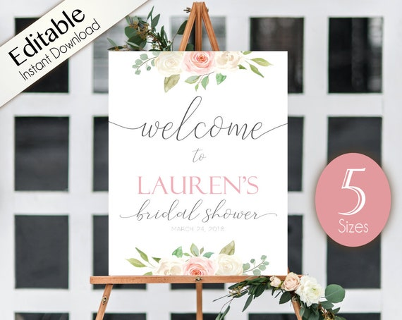 Welcome Sign Bridal Shower, Template Bridal Shower, Welcome Bridal Shower Sign Romantic White Blush Pink Floral, Editable Sign, Corjl