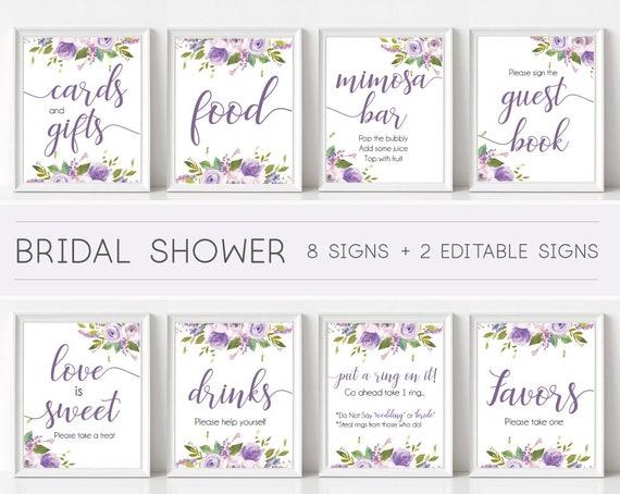 Bridal Shower Sign Set, Bridal Shower Sign Package Bundle, Printable Bridal Tea Sign, Lilac Lavender Purple Floral Sign, Editable Sign Corjl