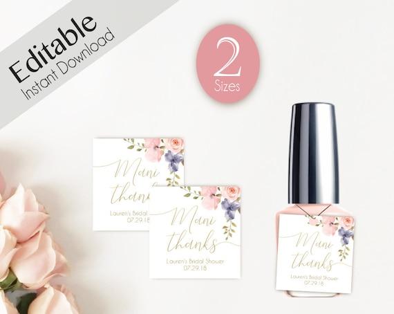 Editable Mani Thanks Tags, Bachelorette Party Tags, Nail Polish Tags, Nail Polish Favor Tags, Blush Rose Floral Gold, Favor Mani Thanks