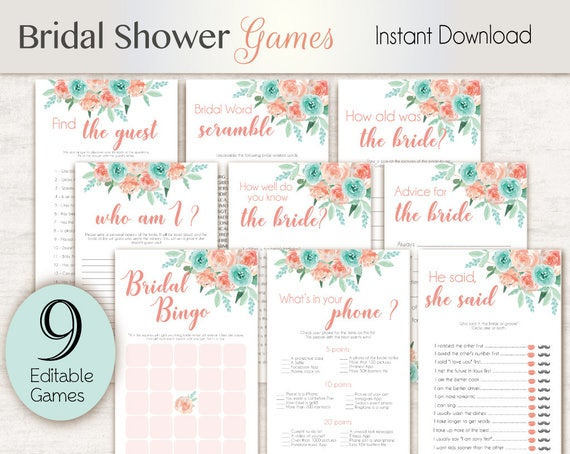 Bridal Shower Games, Editable Bridal Shower Games Package Set Bundle, Editable games, Bridal Shower Games Coral Peach Mint Turquoise Games