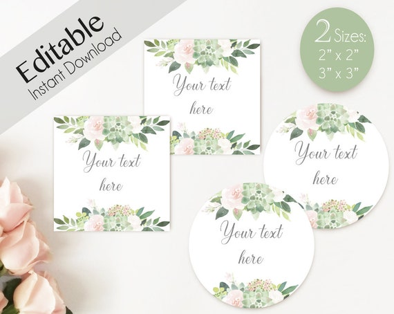 EDITABLE Label / Tag, Mimosa Bar Juice Tags, Bar Drink Tags, Editable Labels Bridal Shower Decoration, Succulent Greenery Dusty Rose Flowers