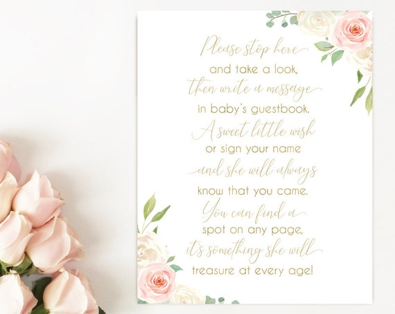 Baby Shower Please sign the Guestbook Printable Sign, Baby Shower Sign Printable, Romantic Blush Pink White Floral Gold, Instant Download