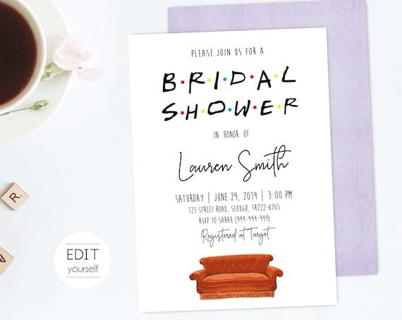 FRIENDS TV Show Bridal Shower Invitation, Editable Bridal Shower Invitation, Printable Bridal Shower Invitation, Corjl
