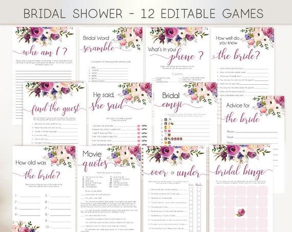 Bridal Shower Games, Editable Games, Games Package, Bridal Shower Games Bundle, Lavender Purple Floral, Wedding Shower Games