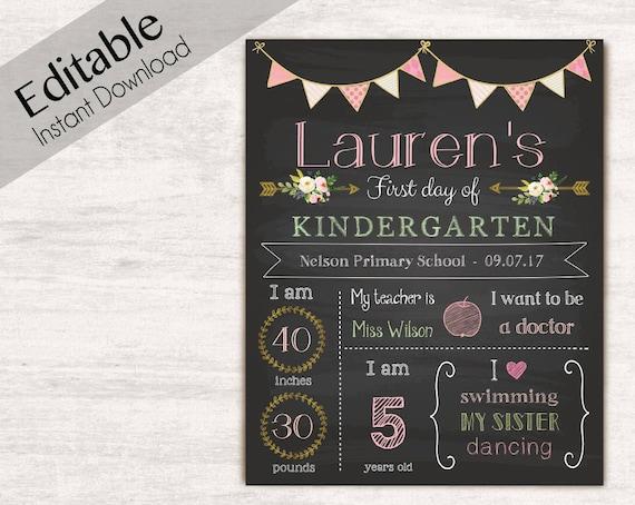 First Day of School Chalkboard Print, Editable Text, DIY, Art Print, Chalkboard Sign, Kindergarten, Grade School, Flower, INSTANT DOWNLOAD