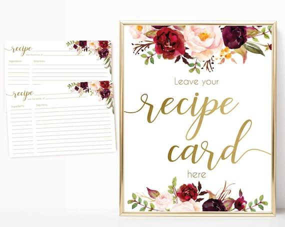 Recipe Cards Bridal Shower, Recipe Sign, Recipe Card Printable, Marsala Burgundy Blush Floral Gold, Recipe Card Floral INSTANT DOWNLOAD