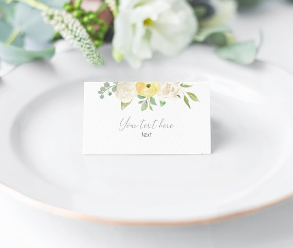 EDITABLE Place Cards, Printable Romantic Yellow White Tent Card, Yellow White Flower, Editable Place Card Bridal Shower, Folded Card