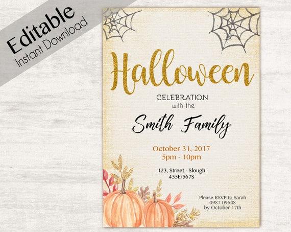 INSTANT DOWNLOAD, Editable Halloween Invitation, Halloween invitation, Halloween Party Invitation, DIY Halloween Invitation Digital