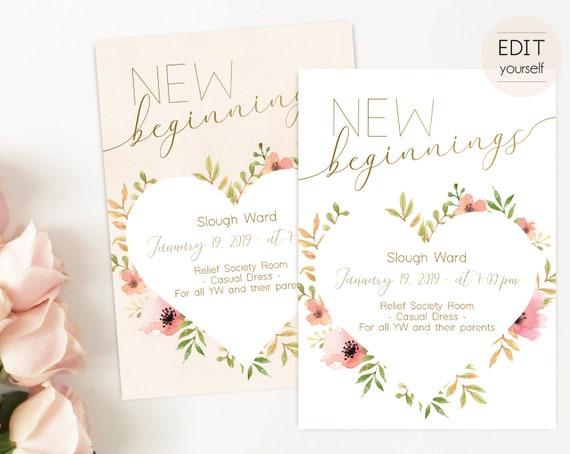 Editable New Beginnings Invitation, Young Women LDS Invitation, Instant Download, Young Women Invitation, New Beginnings printable