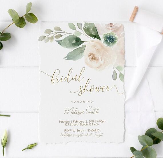 Greenery Bridal Shower Invitation, Bridal Shower Printable, Greenery Bridal, White Floral Gold, DIY Bridal Invitation, Corjl