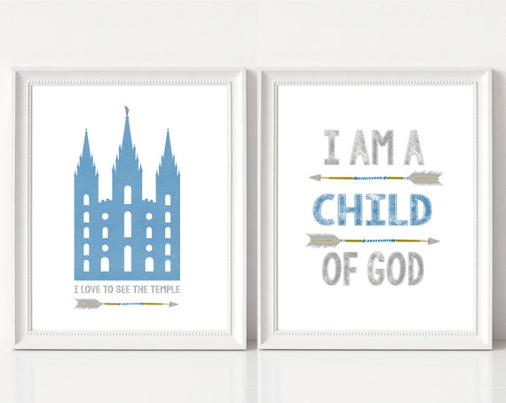 I am a child of God, LDS Temple, I love to see the temple, Instant Download, LDS Gift Art, Boy room decor, blue and grey, arrows