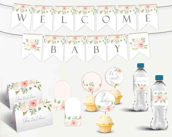 Baby Shower Kit, Baby Shower Girl, Baby Shower Decorations, Baby Shower Pink and white, Editable PDF