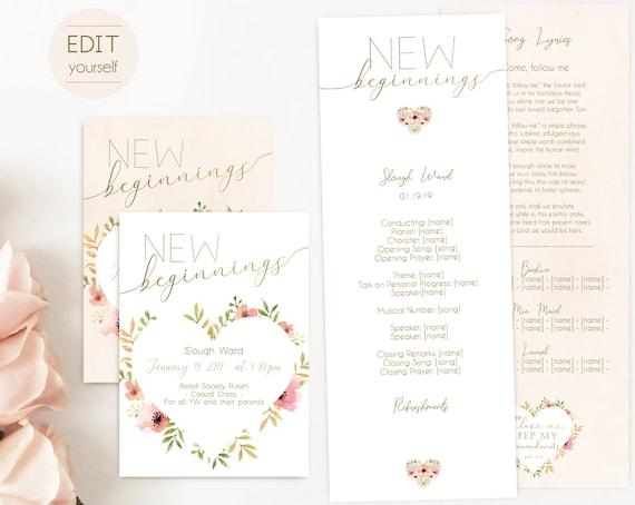 New Beginnings Invitation, New Beginnings Program, Editable program, New Beginnings Invite and Program, Young Women LDS