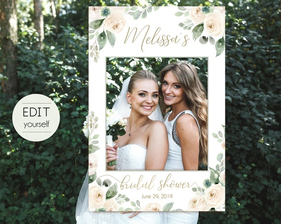 Bridal Shower Photo Booth Frame, Photo Prop Frame, Photo Booth Prop, Instant Download, White Blush Greenery Floral Gold, Corjl