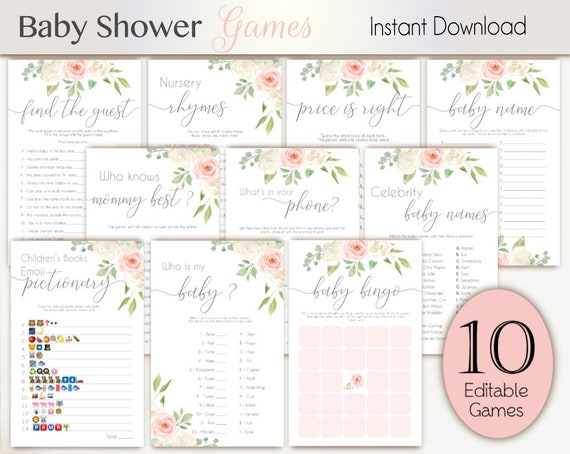 Baby Shower Games, White pink baby shower, Baby Shower Games Bundle, Editable games, Baby Shower blush white pink