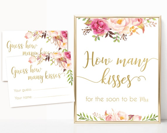 How many kisses for the soon to be mrs, Blush Bloom Pink Gold How many kisses cards and sign, Bridal Shower How many kisses instant download
