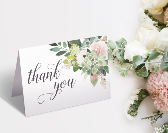 Thank you Card Bridal Shower, Bridal Shower Printable, Succulent Dusty Rose Floral, Thank You Card, Thank you Card folded