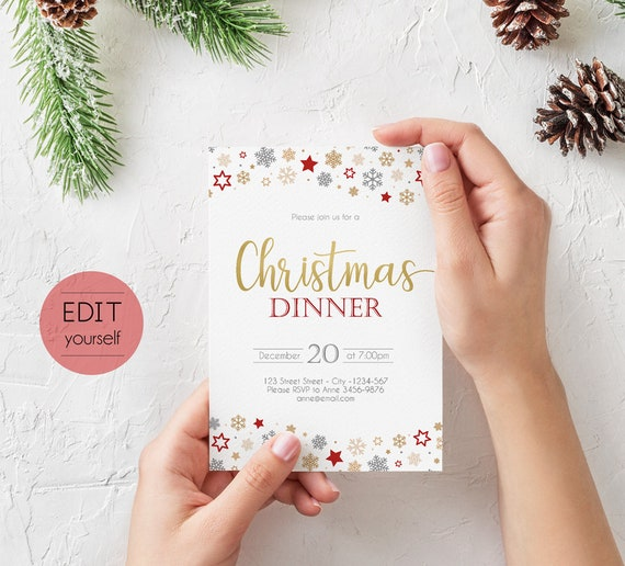 Christmas Invitation template, Editable PDF, Christmas Party template, Editable Christmas Invitation, Holiday Party Invitations, Gold