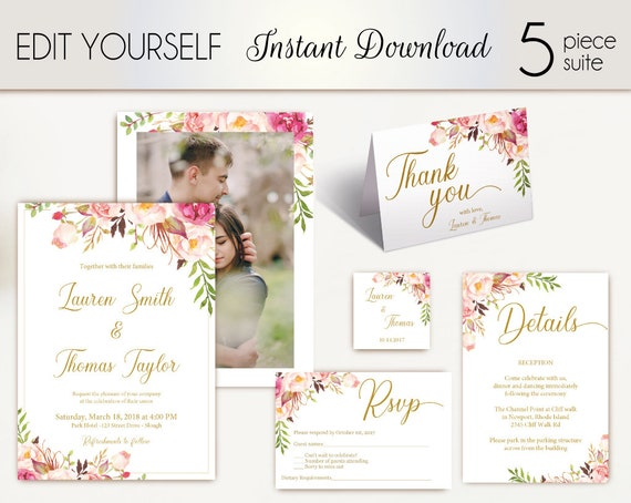 Wedding Invitation Template, Wedding Invite Set, Romantic Blooms Rose Floral Gold with photo picture, Wedding Invite, Instant Download