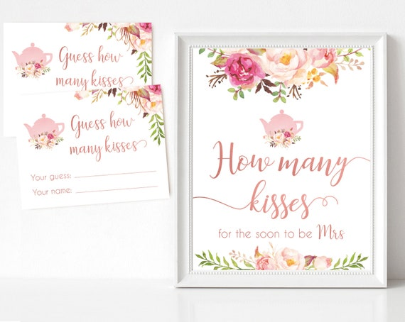 How many kisses for the soon to be Mrs, Blush Bloom Pink Rose Gold Tea Pot, How many kisses cards and sign Bridal Tea How many kisses