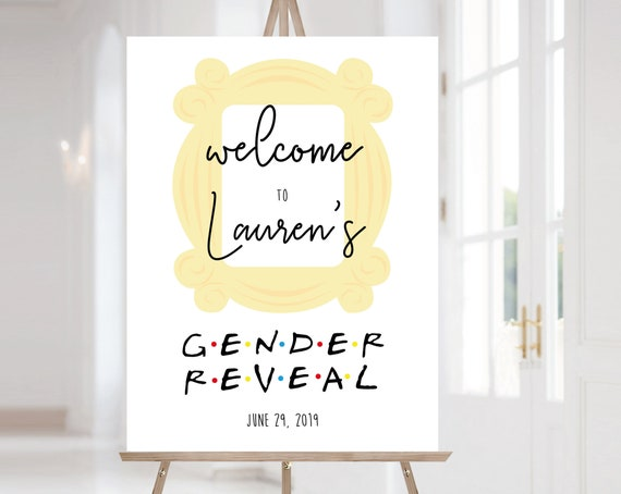 FRIENDS Welcome Sign Gender Reveal, Template Gender Reveal, Welcome Gender Reveal Sign FRIENDS tv show