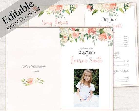 Baptism Program, Editable PDF, Printable Digital Handout Girl Baptism, peach flowers, Girl Baptism, white, Baptism Program Template