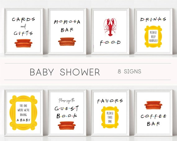 Friends Tv Show Baby Shower Signs, Baby Shower Signs, Friends Theme, Shower Sign Set, Friends Signs, Friends Decor, Friends themed shower