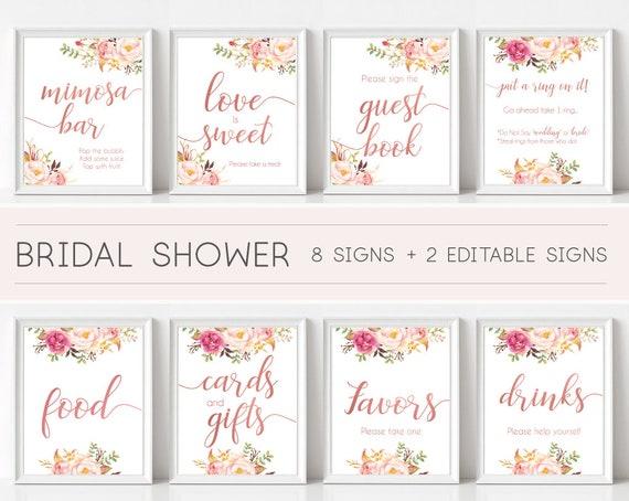 Bridal Shower Sign Set, Bridal Shower Sign Package Bundle, Bridal Tea Sign, Romantic Blooms Rose Floral Rose Gold Editable Sign 5x7 8x10