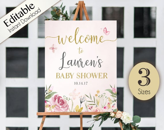 Welcome Sign Baby Shower Template, Editable Baby Shower Printable, Instant Download,  Baby Shower Sign, Baby shower Butterfly flowers floral