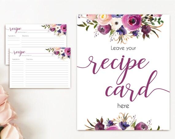 Recipe Cards Bridal Shower, Recipe Sign, Recipe Card Printable Lavender Purple Flower, Recipe Card Floral INSTANT DOWNLOAD Printable 4x6