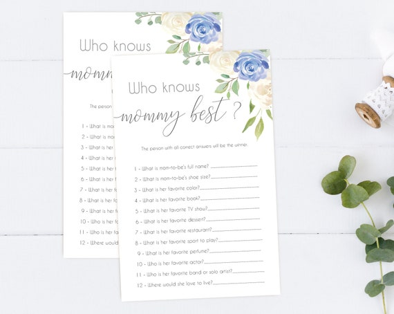 Who knows mommy best game, Baby Shower Game, Mommy to be Quiz, how well do you know mommy, Blue White Floral, Baby Shower Blue