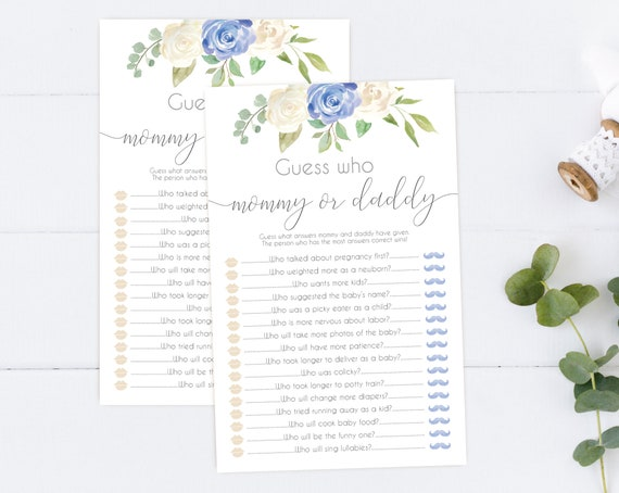Guess Who Mommy Or Daddy, Baby Shower Game, Template Guessing Game Mommy Said Daddy Said, Guess Who Mommy or Daddy, Blue White Floral