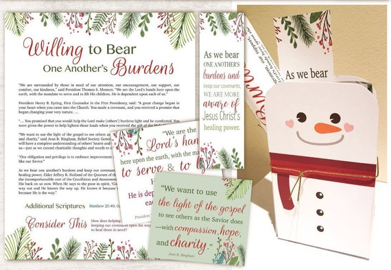 Ministering Kit, Relief Society, Instant Download, December Ministering, snowman box template, Relief Society