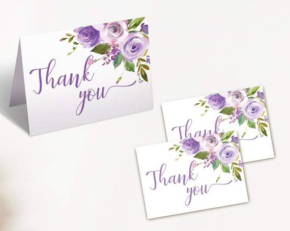 Thank you Card Bridal Shower, Bridal Shower Printable, Romantic Lilac Floral, Thank You Card Bride Tea, Thank you Card folded