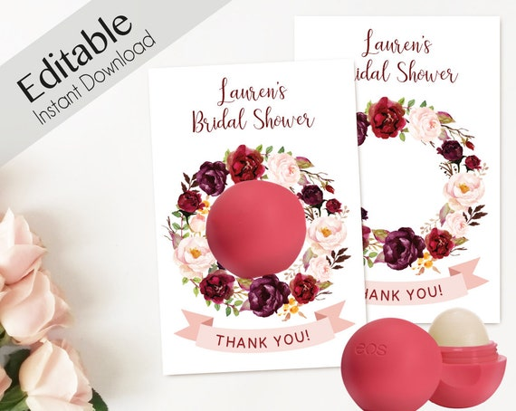 Editable EOS Lip Balm, Thank You Tags Floral, EOS tags, EOS Bridal Shower, Favors Bachelorette, Marsala Burgundy Peonies Floral, Party Favor